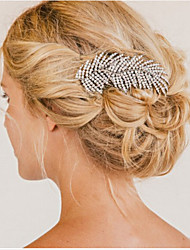 cheap -Women's Crystal Rhinestone Silver Plated Hair Comb Silver