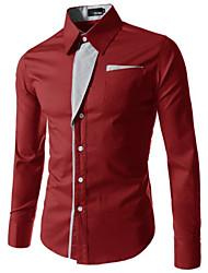 Herren Hemd-Einfarbig Freizeit / Übergröße Baumwollmischung Lang Schwarz / Blau / Rot / Weiß / Grau