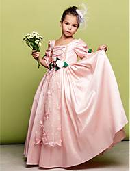 cheap -A-Line Floor Length Flower Girl Dress - Taffeta 3/4 Length Sleeves Square Neck by LAN TING BRIDE®