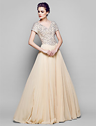 A-Line Bateau Neck Floor Length Chiffon Tulle Sequined Mother of the Bride Dress with Sequins by LAN TING BRIDE®
