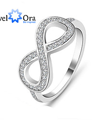cheap -Genuine 925 Sterling Silver 8-Shaped Wedding Jewelry Knot Flowers Rings For Women Brand Lady Infinity Ring