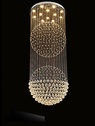 LED Pendant Light Modern Crystal Chandelier 12 Lights Silver Canpoy Clear Crystal Globe Ceiling Lamps Fixtures H210CM