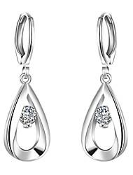 Earring,Jewelry,lureme®Fashion Style 925 Sterling Sliver With Zircon Teardrop Shaped Dangle Earrings