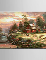 cheap -Oil Painting Hotel Pastoral Scenery Abstract Hand Painted Canvas with Stretched Framed