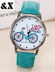 baratos -Mulheres Relógio de Pulso Venda imperdível Couro Banda Vintage / Fashion / Relógios com Palavras Preta / Branco / Azul