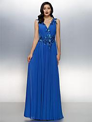 Linha A Decote V Longo Chiffon Evento Formal Vestido com Cruzado Lantejoulas de TS Couture®