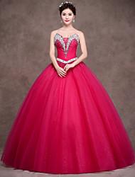Plesové šaty Princess Bez ramínek Na zem Satén Tyl Elastický satén Formální večer Šaty s Křišťály Šerpa / Stuha Boční řasení podle