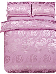 Mingjie Jacquard Pink Flowers Bedding Sets 4PCS for Twin Full QueenSize from China Contian 1 Duvet Cover 1 Flatsheet 2 Pillowcases