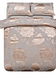 Mingjie Jacquard Silvery Flowers Bedding Sets 4PCS for Twin Full QueenSize from China Contian 1 Duvet Cover 1 Flatsheet 2 Pillowcases