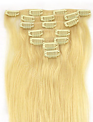 cheap -15'' 7pcs Clips in Human Hair Extensions Blond 70g for Women's Beauty Hairsalon in Fashion