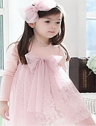 cheap -Retail Free Shipping Toddlers Girls  NWT Lovely Bow Knot Top Princess Cotton and Tulle Dress 2-7Y Clothes Pink Coffe