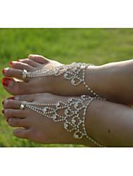 baratos -Cristal / Imitações de Diamante Tornezeleira / Bijuteria para Pés - Mulheres Prata Original / Fashion / Bikini Jóias Tornezeleira Para