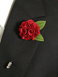 cheap -Men's Casual Red Flower And Green Leaves Silk Goods Brooch