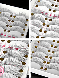 cheap -10Pairs Natural Long Black False Eyelash Eyelashes Handmade Individual Lashes Makeup Cotton Stalk Eyelashes Extensions