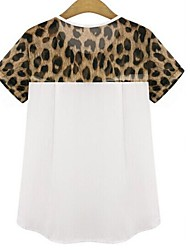 cheap -Cotton T-shirt - Leopard / Patchwork Layered