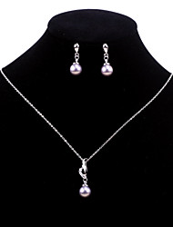 Fashion Jewelry Women's Shell Pearl Necklace And Earrings Set (Purple)