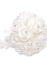 Satin Foam Rose Flower Wedding Bouquet with Rhinestone(28*21*21cm)