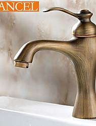 abordables -de salle de bain en laiton antique poignée unique robinet d'évier