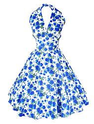 Mulheres Vestido,Festa/Coquetel Sensual / Vintage Floral Altura dos Joelhos Sem Manga Azul / Vermelho Algodão Todas as Estações