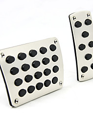 cheap -Silver 2PCS Auto Manual Pedal Pad