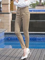 Mulheres Calças Bodycon/Casual/Trabalho/Plus Sizes Skinny Algodão/Poliéster/Elástico/Misto de Algodão Com Stretch Mulheres