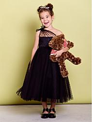A-line чайное платье из цветной девушки - тюль без рукавов одно плечо от lan ting bride®