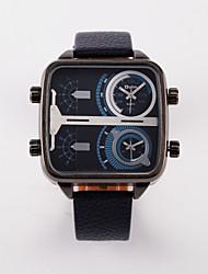 Oulm Pánské Vojenské hodinky Hodinky s dvojitým časem Křemenný Kůže Kapela Černá Modrá Červená Hnědá