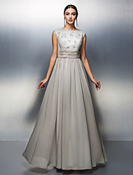 cheap -Sheath / Column Mother of the Bride Dress Floor-length Sleeveless Chiffon with Beading by TS Couture®