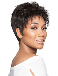 cheap -Popular Graceful Short Curly  Mono Top  African American Human Hair Wigs  9 Colors to Choose