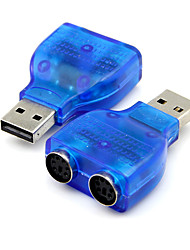 usb 2.0 al connettore dell'adattatore ps2 PS convertitore A / 2 per mouse pc blu tastiera