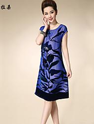 Robe Aux femmes Grandes Tailles Grandes Tailles / Vintage / Soirée / Travail / Décontracté Mi-long Soie / Autres / Viscose