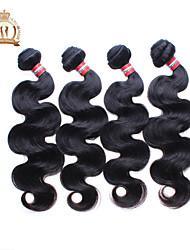 """economico -4pcs lotto 12-26 """"non trattata ondulato peruviana onda del corpo capelli vergini ricci capelli umani remy nero naturale del tessuto /"""