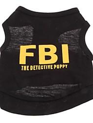 baratos -Gato Cachorro Camiseta Roupas para Cães Carta e Número Preto Algodão Ocasiões Especiais Para animais de estimação Fantasias Casamento