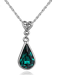 cheap -Women's Crystal / Synthetic Emerald Pendant Necklace - Drop, Heart Red, Green, Blue Necklace For Thank You, Valentine