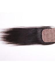 Недорогие -08inch-20inch Черный / Натуральный чёрный (#1В) Прямые Remy закрытие Умеренно-коричневый Швейцарское кружево 30g-60g грамм Размер крышки