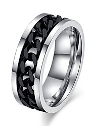 cheap -Men's Titanium Steel Statement Ring - Jewelry Love Silver / Black Ring For Wedding / Party / Gift