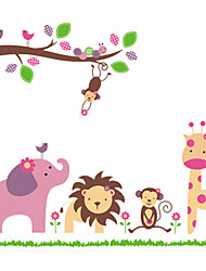 cheap -Giraffe Monkey Elephant Lion Zoo Animal Wall Stickers For Kids Room Zooyoo869 Pvc Wall Decals Home Decoration DIY