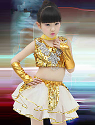 Shall We Jazz Outfits Children Performance Training Top Skirt Gloves