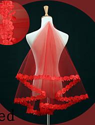 Uma Camada Borda com aplicação de Renda Véus de Noiva Véu Ponta dos Dedos Com Bordado Renda Tule