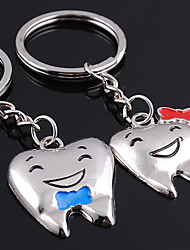 2pcs Set Smile Teeth Key Chain Stainless Steel Key Ring Ornaments Gift Lover
