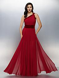 Linha A Assimétrico Longo Chiffon Veludo Evento Formal Vestido com Drapeado Lateral de TS Couture®