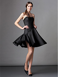 A-Line Fit & Flare Strapless Knee Length Satin Cocktail Party Homecoming Dress with Pleats by TS Couture®