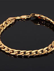 cheap -U7® Men's 18K Chunky Gold Filled Figaro Cuban Chain Bracelet 7MM 21CM Jewelry Christmas Gifts