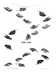 cheap -FD-59 Popular Wing Shape Nail Decal 1Set Japan Korea Style Black Color Angle Girls Lovely Nail Stickers Decoration