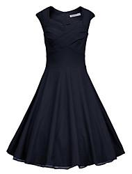 abordables -Robes ( Coton mélangé ) Vintage/Sexy/Soirée Manches courtes pour Femme