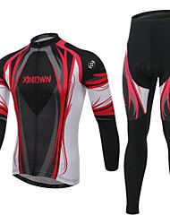 economico -Per uomo Manica lunga Maglia con pantaloni da ciclismo - Rosso Blu Bicicletta Calze/Collant/Cosciali Maglietta/Maglia Set di vestiti,