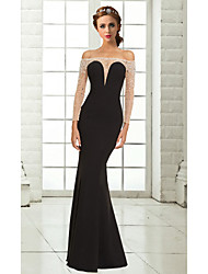 Mermaid / Trumpet Off-the-shoulder Floor Length Chiffon Formal Evening Dress with Beading by MYF