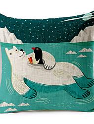 Stylish Cartoon Polar bear Patterned Cotton/Linen Decorative Pillow Cover