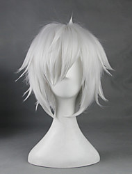 cheap -Cosplay Wigs Is It Wrong to Try to Pick Up Girls in a Dungeon Bell Cranel White Short Anime Cosplay Wigs 33 CM Heat Resistant FiberMale /