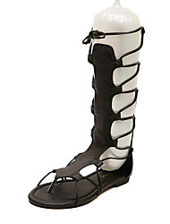 cheap -Women's Shoes Leatherette Spring / Summer Wedge Heel Black / Khaki / Lace up